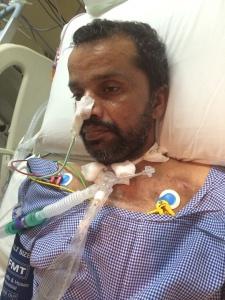 Chandra Banu on ventilator  at the Sultan Qaboos University Hospital, Oman